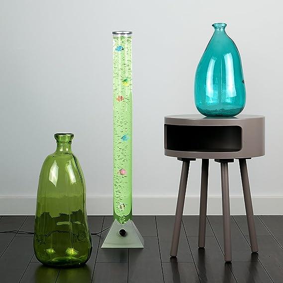 MiniSun - Lámpara de pie LED moderna y de diseño de 90cm, con luces que cambian de color, corriente de burbujas y peces de colores: Amazon.es: Iluminación