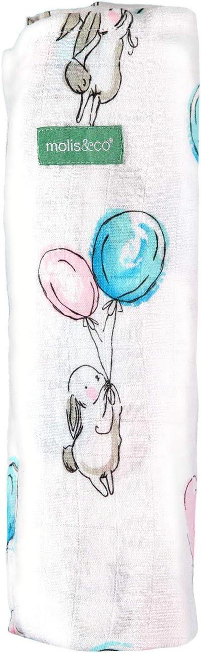 Manta multiuso para beb/é 120x120 cm Tama/ño XL 70/% bamb/ú y 30/% algod/ón molis/&co Estampado de conejito y globos en tonos azules y rosas Unisex. Muselina premium s/úper suave