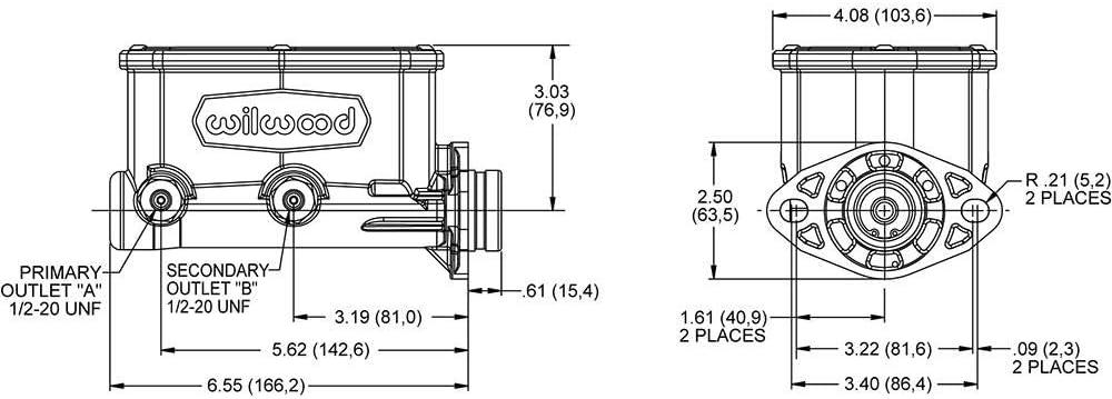 Wilwood 260-14960-BK Compact Tandem Master Cylinder