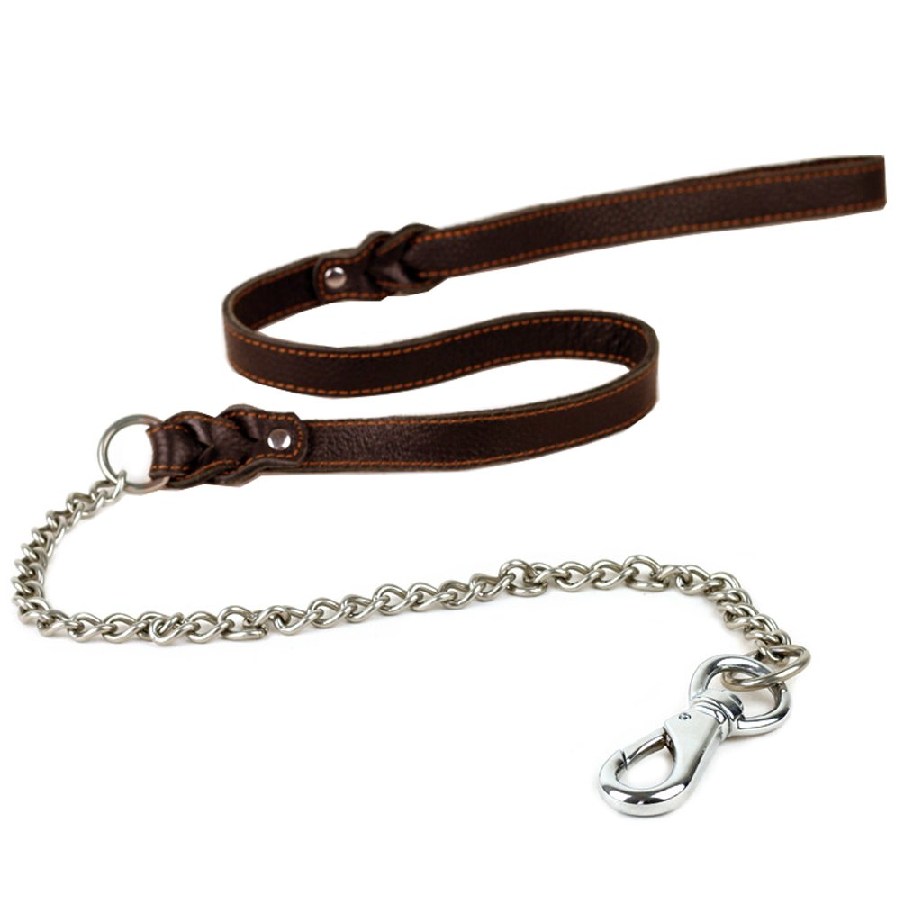 Tellpet Leather Dog Leash with Chain Links, 4.6 Feet, Brown