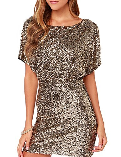 (Richlulu Womens Sparkly Sequin Cut Out Backless Wrap Mini Club Dress(L,Gold))