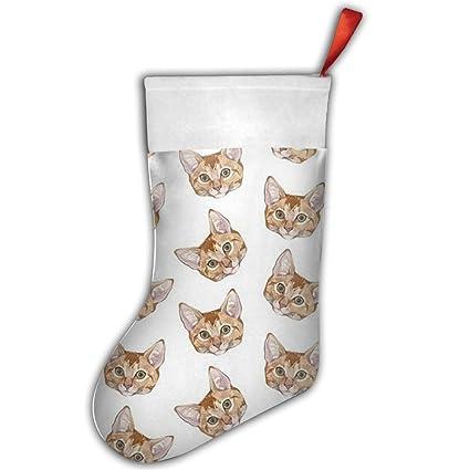 Gatos cabeza patrón papá noel calcetines celebrative vacaciones regalos calcetín de Papá Noel
