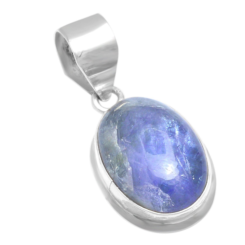 Elegantjewels 1 Piece Tanzanite Cabochon Gemstone,20x15,10.88Gram,925 Sterling Silver Pendant