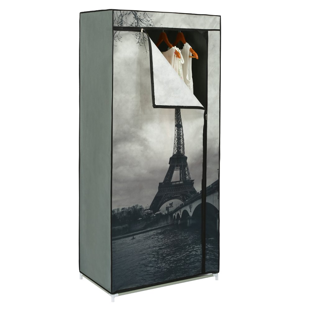 HOME BI Portable Clothes Closet Wardrobe, Non-woven Fabric Clothes Closet Storage for Clothes, Space Saving, Easy to Assemble, 28.74L x 16.93W x 62.2H(Eiffel Tower)