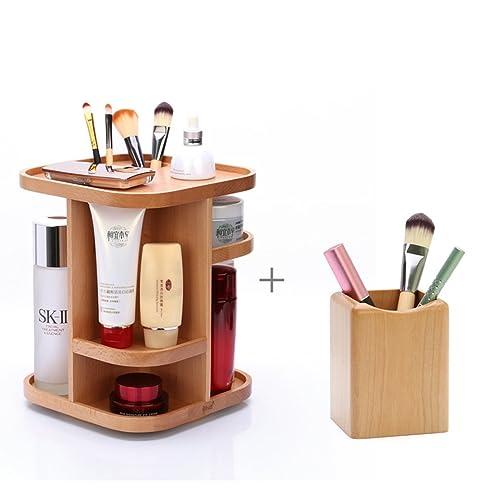 MEILING Holz 360-Grad-Rotation Desktop-kosmetische Aufbewahrungsbox ...