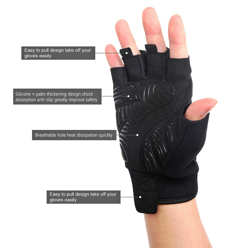 MAJCF Cycling Gloves Mountain Bike Gloves Bicycle Gloves Half Finger Road Riding Gloves Anti Slip Shock-Absorbing Pad Breathable Sports Gloves Accessories for Men//Women