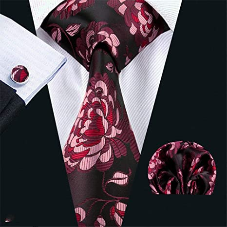 Zjuki Corbata Corbata para Hombre Seda Rojo A Cuadros Jacquard ...