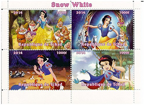 Classic Disney limited edition Snow White and the seven Dwarfs block of 4 mint stamps / 2014 / Chad