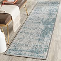 Safavieh Passion Collection PAS402D Oriental Vintage Watercolor Grey and Green Distressed Runner 22 x 8 Grey
