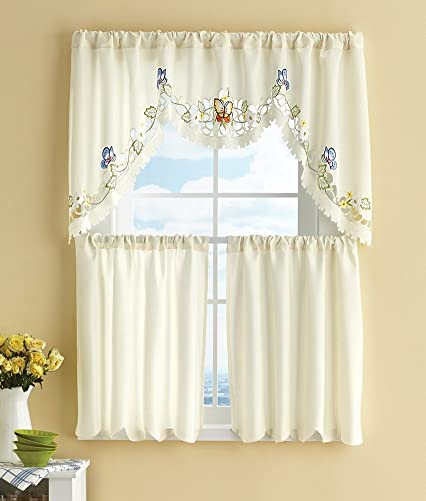Embroidered Tiered Butterfly Cafe Curtain Set
