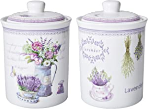 Xiteliy Ceramic Canister Set Tea Coffee Sugar Storage Pots Jars Kitchen Food Storage with Ceramic Lid Set of 2 (Purple, TL-XYC-J)