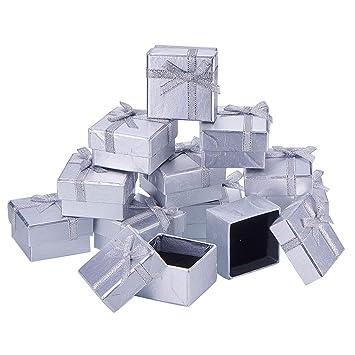 NBEADS Caja cuadrada de cartón para joyería, caja de regalo de papel con lazo, plata, 5 x 5 x 3 cm: Amazon.es: Hogar