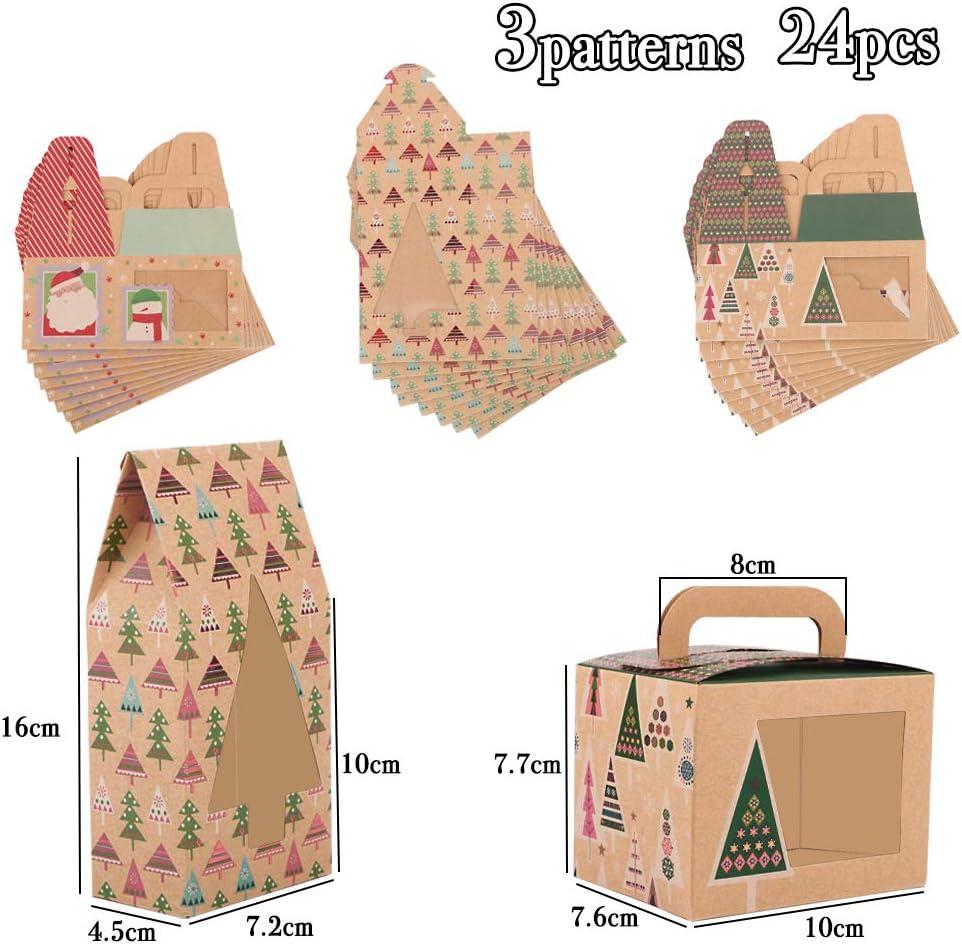 24 Cajas Regalo Peque/ñas Navidad Cajitas Navide/ñas Papel kraft Caramelos Dulces Galletas Peque/ñas Decoraci/ón Fiesta Navidad