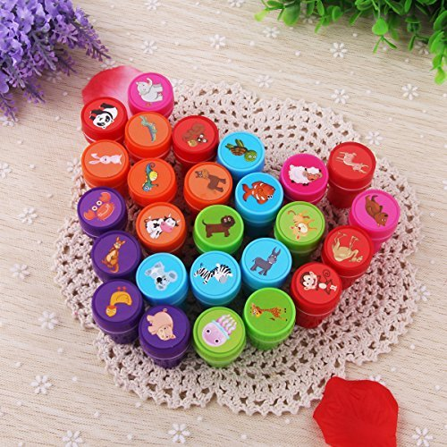 Alician 26Pcs/Set Rubber Stamp Set Kids Funny Plastic Self Inking Stamper Toys Baby DIY Crafts Animal ()