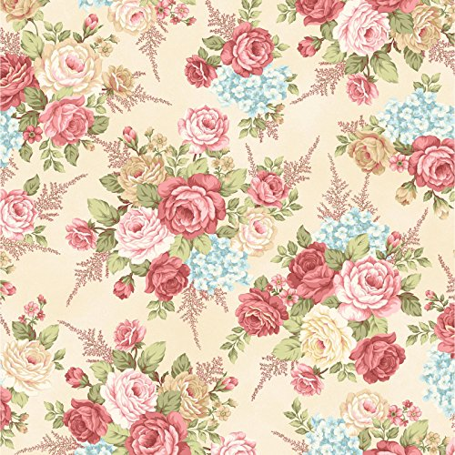 Rose Garden Fabric - Peaceful Garden~Large Rose Bouquet Cotton Fabric by Henry Glass