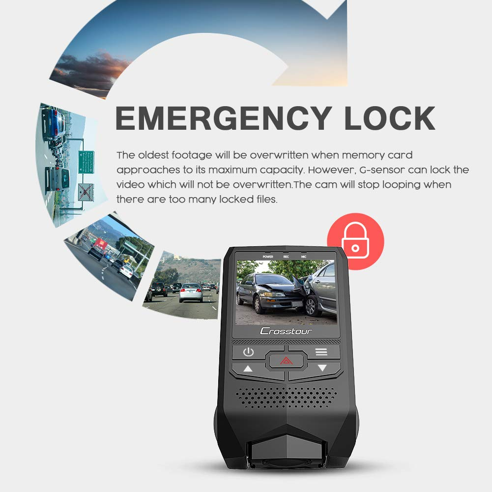 Loop Recording HDR Parking Mode CR600 Crosstour Front and Rear Dual Dash Cam FHD 1080P Mini in Car DVR Dashboard Recorder with G-Sensor Motion Detection Screen Rotation