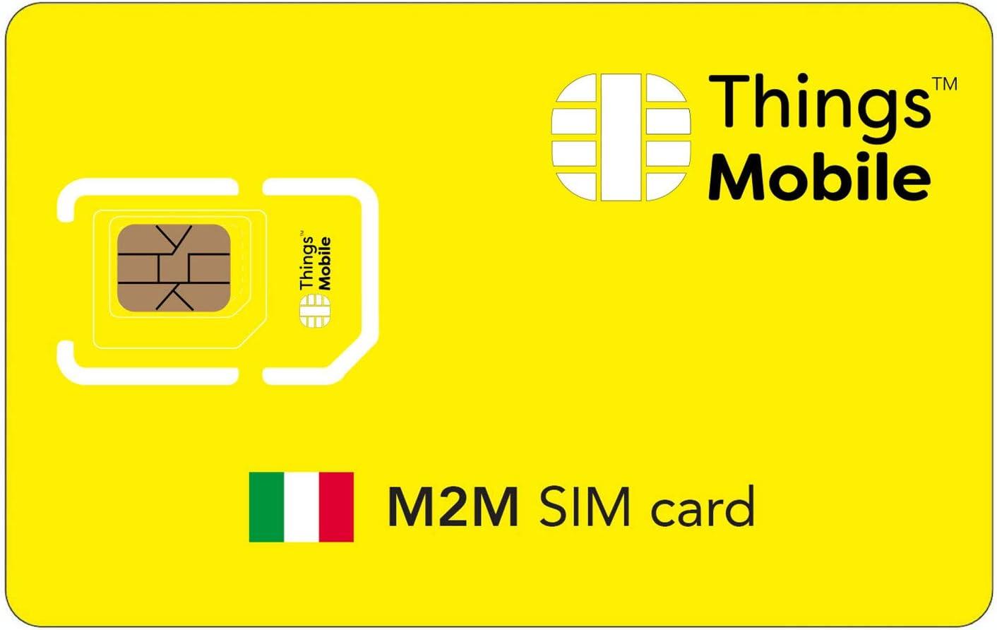 Tarjeta SIM M2M ITALIA - Things Mobile - con cobertura global y red multioperador GSM/2G/3G/4G LTE, sin costes fijos, sin vencimiento y con tarifas competitivas, con 10 € de crédito incluido