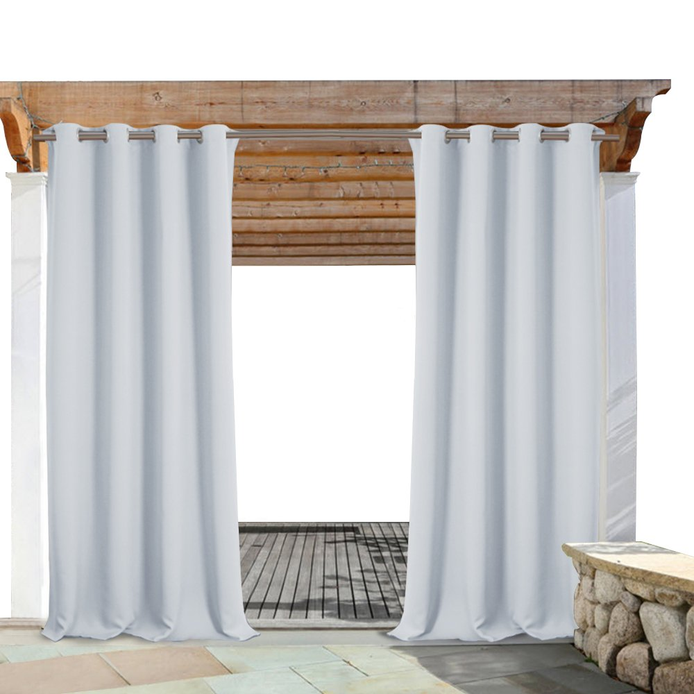 PONY DANCE Outdoor Drapes Blackout - Home Decor Light Blocking Fade Resistant Curtain Panels with Grommet Rust-Proof, 52-inch Wide by 84-inch Long, Greyish White, 1 Pc