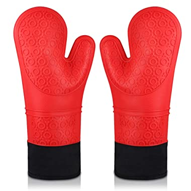 Oven Gloves, Heat Resistant Cooking Gloves Silicone Grilling Gloves Long Waterproof BBQ Kitchen Oven Mitts with Inner Cotton Layer for Barbecue, Cooking, Baking