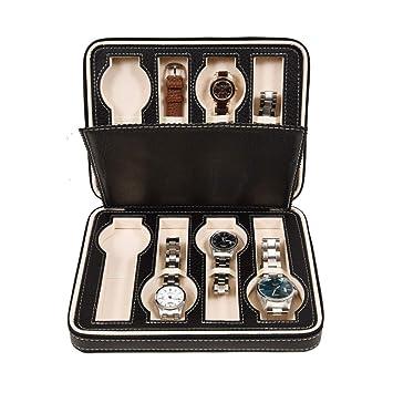 Zgsjbmh Estuche para Relojes Reloj Storage Display Box Funda de Cuero Faux Storage Zipper Case 8 Rejillas (Negro) Caja de Reloj: Amazon.es: Hogar