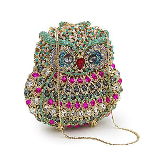 Women 1 Evening Shoulder Crossbody Multicolor Clutch Bag Party Rhinestone for Prom Wedding Purse Handbag Owl Bag qx0nwHUZv