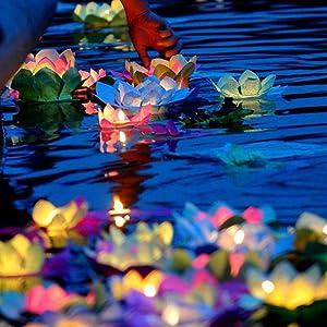 superdream Solar Power Energy Floating Lotus Flower LED Accent Light for Pool Pond Garden Night Light