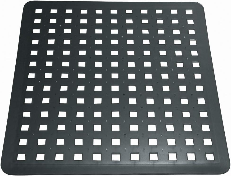 iDesign Escurridor de platos y vasos, rejilla de plástico PVC de tamaño mediano, alfombrilla escurreplatos para proteger el fregadero de la cocina, negro