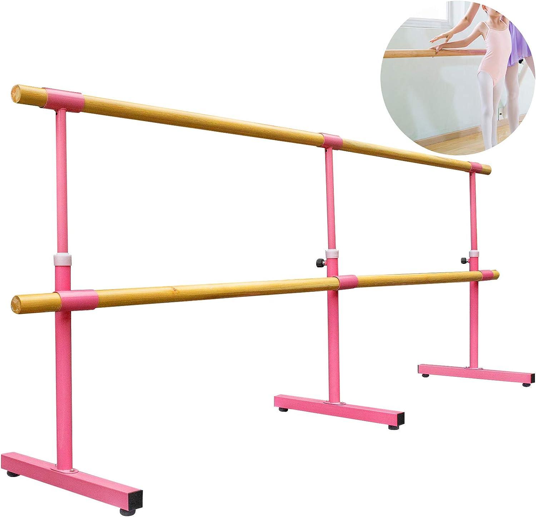 Pink,3m VEVOR Portable Ballet Barre Freestanding Ballet Bar Double Bar 3M Barre Bar Height-Adjustable Barre Bar Dance Ballet Barre Mobile Barre Ballet Bar Mobile Ballet Barre For Home Dance Studio