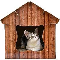 QueenHome Multi-équipé Pet House Simulation Maison en Bois en Bois Luxe Villa de Construction de Cage Animal Domestique Fournitures