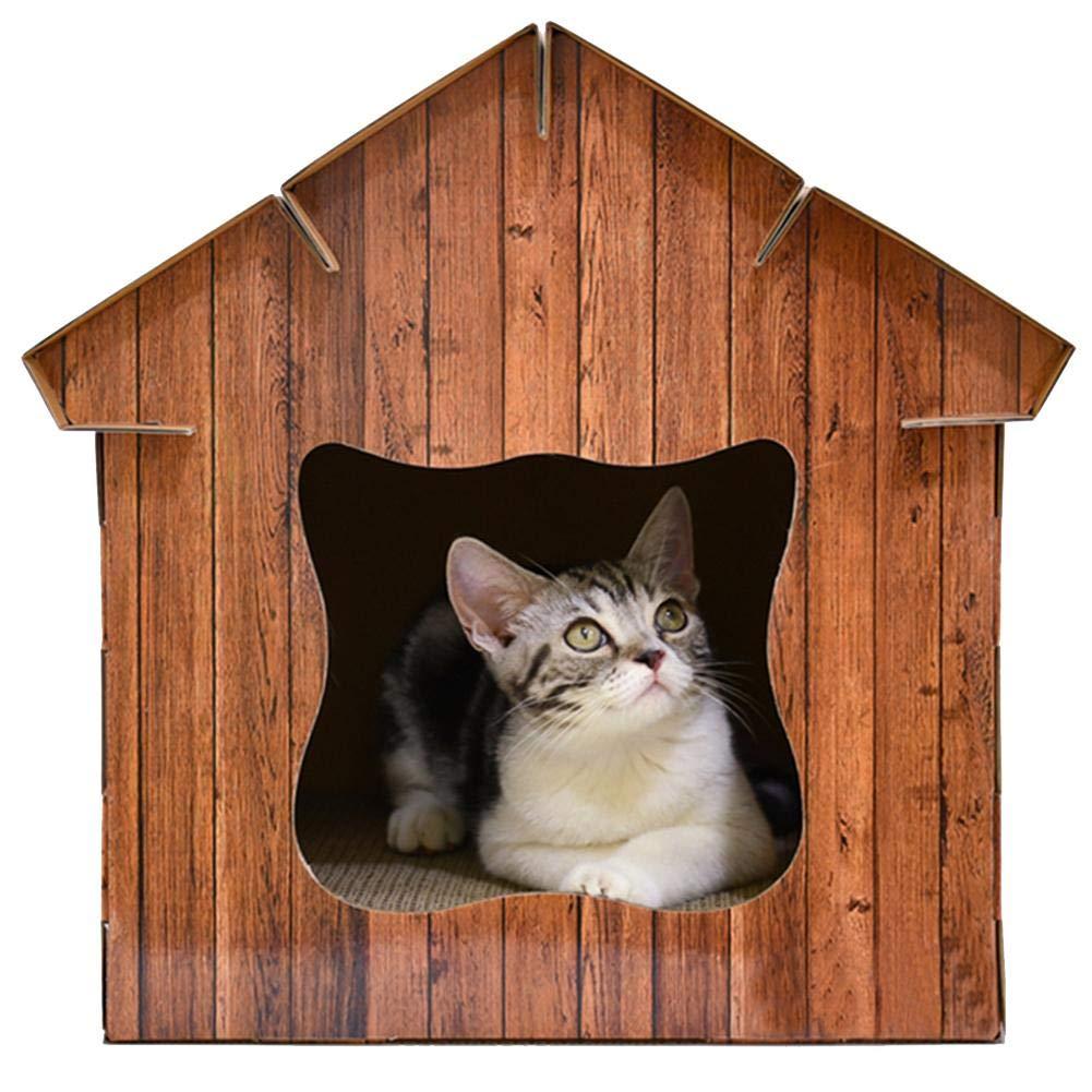Longshow Pet House Simulation Wood Cat Room Corrugated Paper Cat Cat Board Cat House Cat Worm Cat Pet Supplies