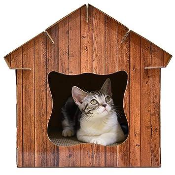 yanyaoo DIY 3 en 1 multifunción Gato Nido simulado Madera Grano Mascota casa Gato rascador Tabla Gato Refugio Mascotas Suministros: Amazon.es: Productos ...