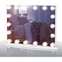 LUXFURNI Vantity Tabletop Makeup Hollywood Mirror Dimmable Light Touch Control 18 cold/Warm LED Lights, Detachable 3x Magnification Mirror