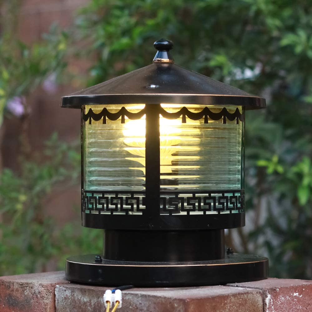 Column Lamp European LED Villa Home Garden Post Light Outdoor Antique Rustproof Aluminum Pillar Lantern Waterproof Outside Glass Patio Lamp for Balcony Garage Terrace (Size : S-25 25cm)