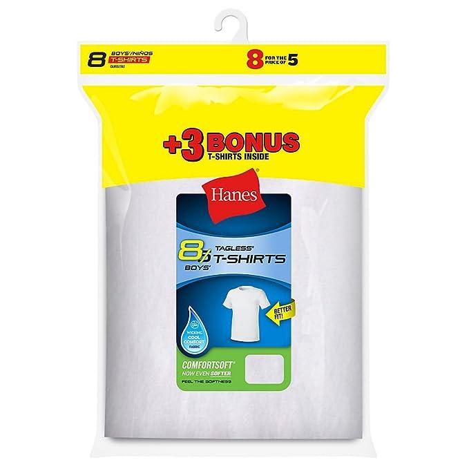 Hanes - Camiseta interior - Manga Corta - para niño Blanco blanco S