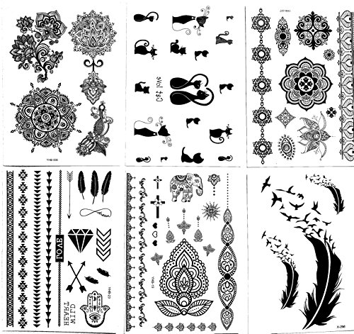 Henna Tattoo (6 Sheets) Body Paints Temporary Tattoo Designs Feathers/Mandala/Cats/Lotus/Bracelet/Elephant/Birds and more by Gilded Girl (Image #7)