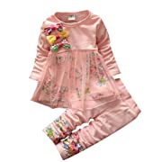 40523d016 LUKYCILD Baby Girl Clothing Set Flower Bow Top T Shirt + Pants,Pink, Tag  Size 110