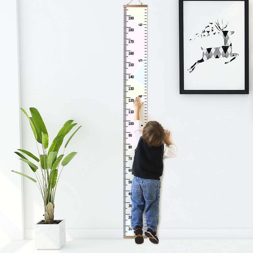 Bébé Toise murale à suspendre Règle, Diagramme de taille d'enfants Amariver sur Toile amovible Hauteur Toise murale Decoration de Salle pour Enfants, Macaron Style, 200 x 20cm Shyneer