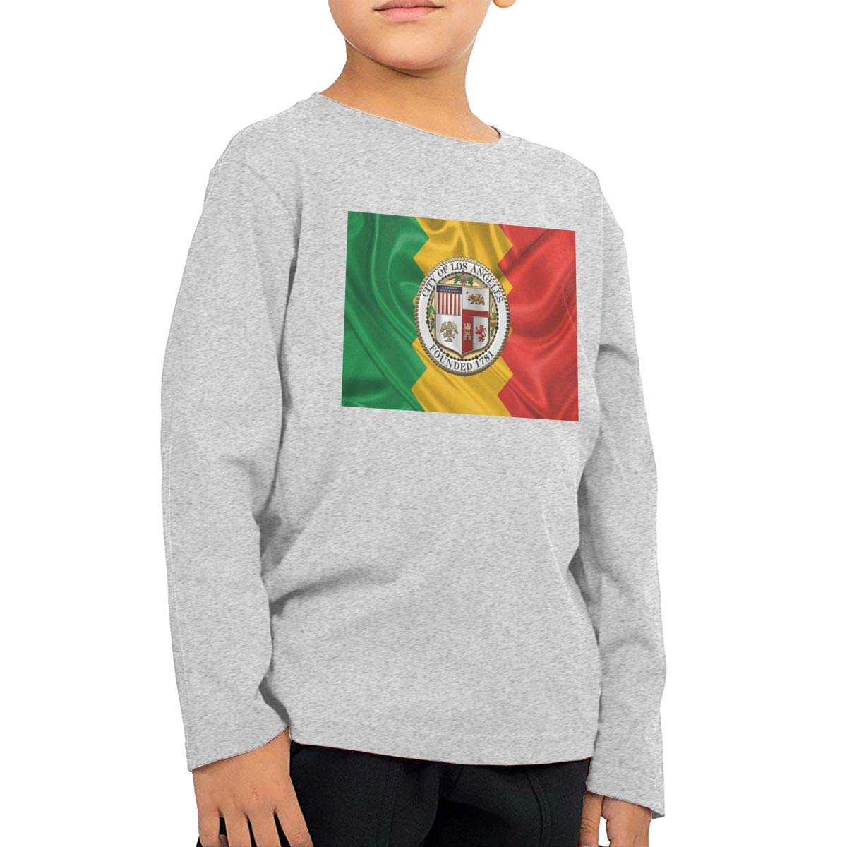 HADYKIDSLOVE Flag of Los Angeles City Kids T-Shirt Long Sleeve Boys Girls T-Shirt