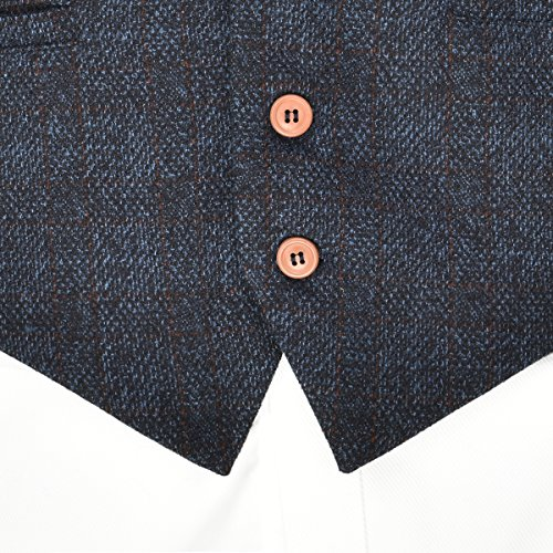 VOBOOM Mens V-Neck Suit Vest Casual Slim Fit Dress 6 Button Vest Waistcoat