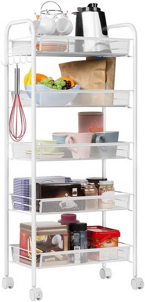 Teeker 5-Tier Multifunctional Rolling Utility Cart,Standing Workstation Shelf Rack Honeycomb Mesh Style Removable Storage Cart for Kitchen Bathroom Bedroom Silver with Hook Ivory White