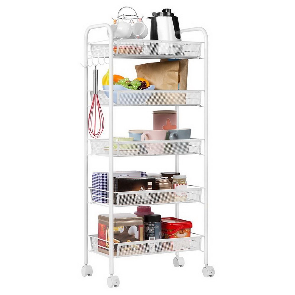 5 Layers Rolling Kitchen Island with with Hook,Honeycomb Net Microwave Stand Baker Cart on Wheels Honeycomb Mesh Kitchen Corner Shelf Storage Racks Trolley Cart for Bathroom Ivory White