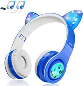 Wireless Bluetooth Kids Headphones, LED Flashing Lights, Music Sharing Function, 85db Volume Limited, Over-Ear and Build-in Mic Wireless/Wired Children Headphones for Boys Girls (Blue)