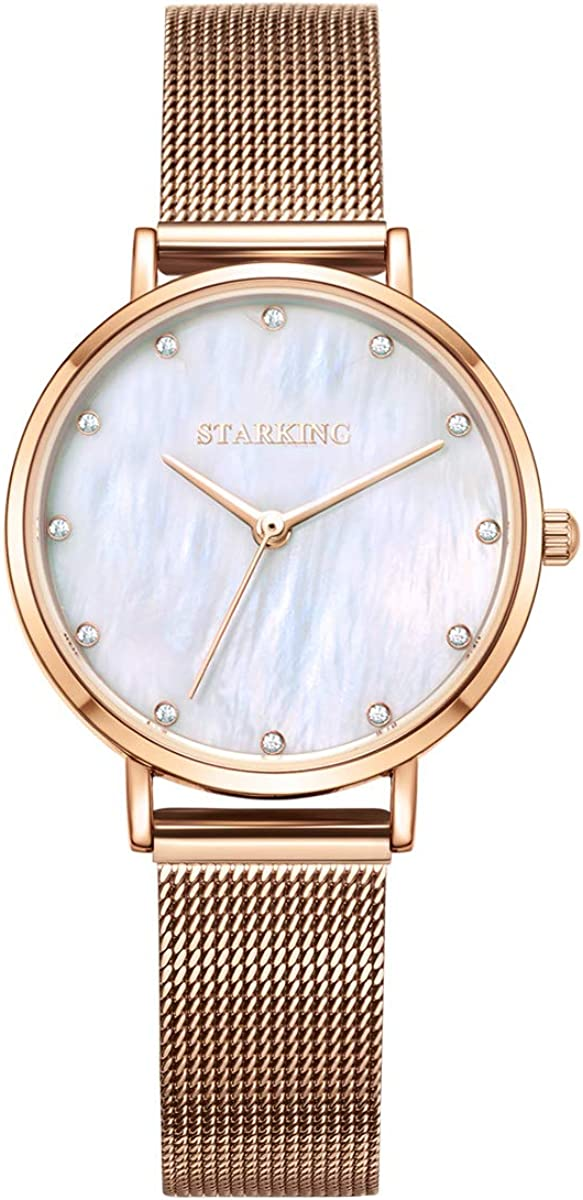 STARKING Women's Minimalist Ultra Thin Rose Gold Watch Analog Japanese Quartz Stainless Steel Mesh Watch …