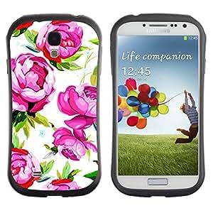 Hypernova Slim Fit Dual Barniz Protector Caso Case Funda Para SAMSUNG Galaxy S4 IV / i9500 / i9515 / i9505G / SGH-i337 [Rose Violet Vert Vintage Wallpaper]