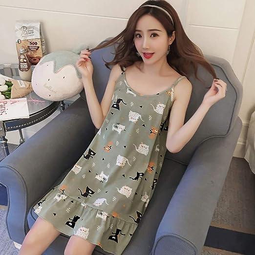 HIUGHJ Pijamas Camisa de Dormir de algodón Sin Mangas Ropa de ...