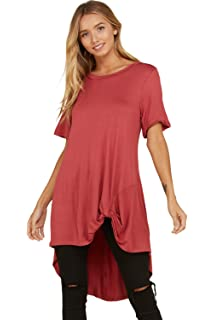 Annabelle Women s Short Sleeve Casual T Shirt Knot Hem High Low Tunic Tops d4db38caa