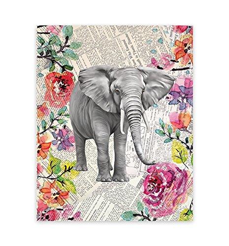 - Elephant Decor, Elephant Upcycled Like Vintage Dictionary 18x24 Inch Print Art Print, Elephant Picture on Newspaper, Elephant Art, Elephant Watercolor, Fine Art Print, Watercolor, Elephant Wall