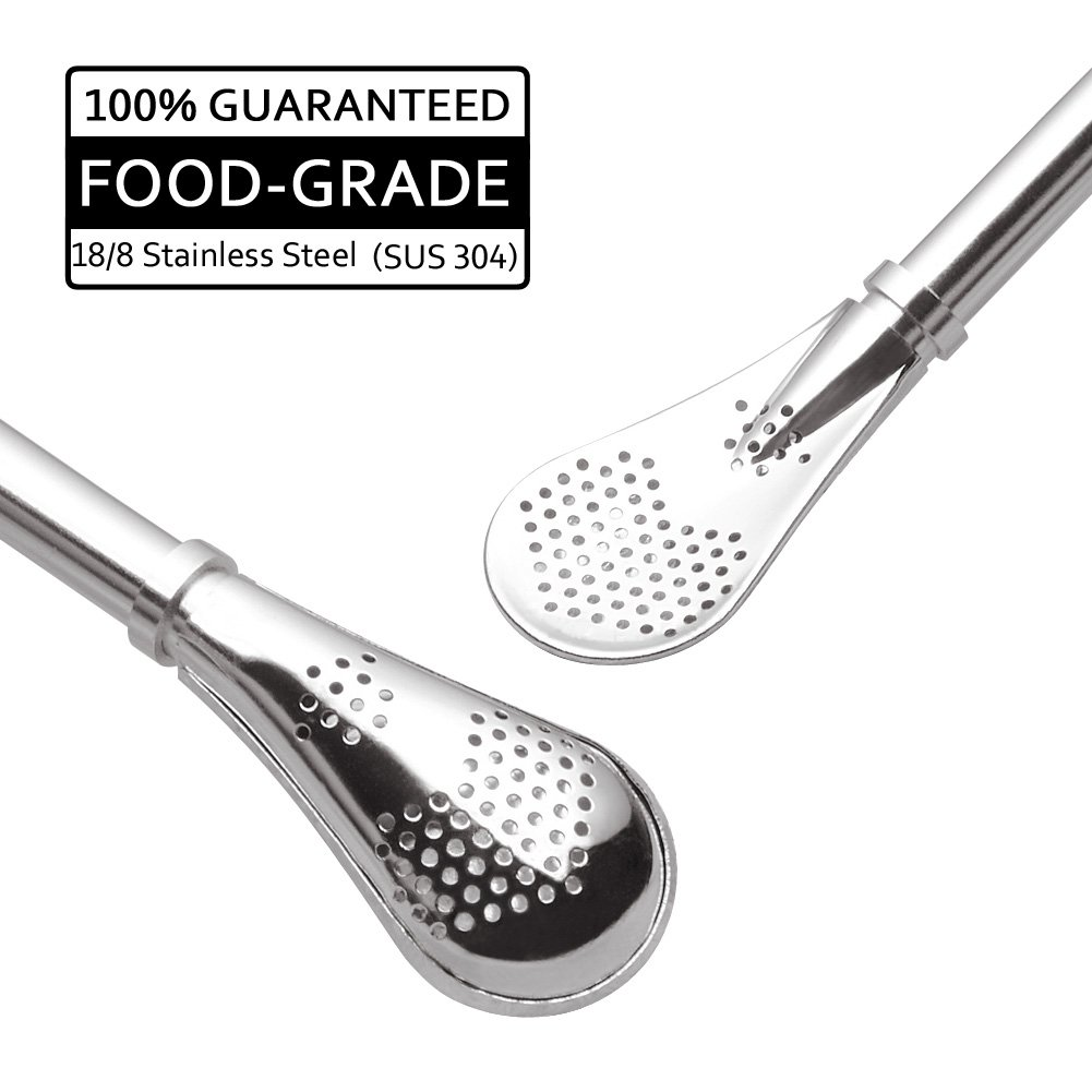GFDesign Yerba Mate Bombilla Gourd Drinking Filter Straws Stirrer Food-Grade 18/8 Stainless Steel - Set of 2 with Cleaning Brush - 6.1'' Long by GFDesign (Image #3)
