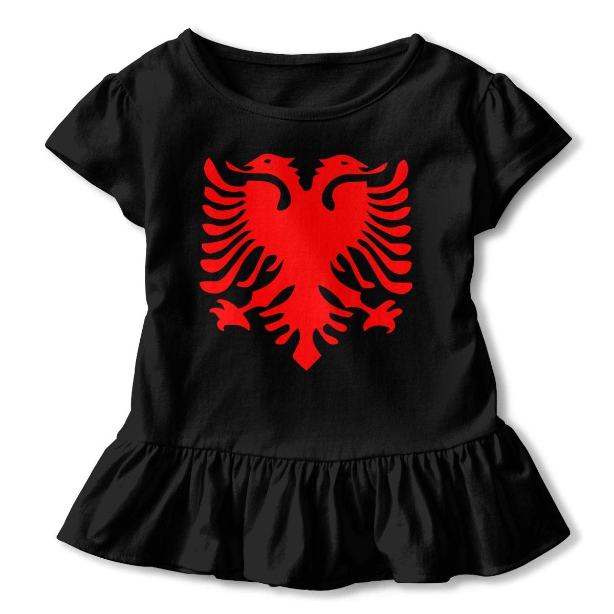 PMsunglasses Short Sleeve Albanian Flag T-Shirts for Kids Fashion Blouse Clothes with Falbala 2-6T