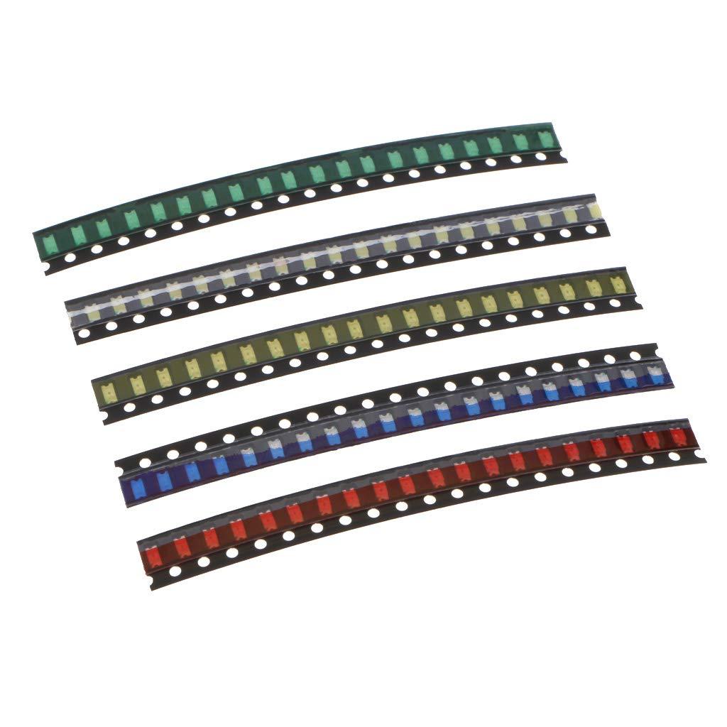 Homyl 100pcs Kit de SMD Luces Diodo Brillante Voltaje Luminancia Color Visualizació n Rá pida Larga Vida Ú til - 1206